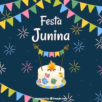 Fundo, de, festa, junina, com, colorido, galhardetes