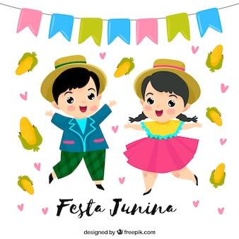 Fundo de festa junina com crianças dançando