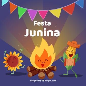 Fundo de festa junina com desenhos animados bonitos