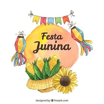 Fundo de festa junina com elementos em estilo aquarela