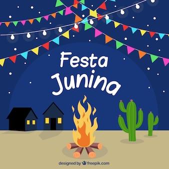 Fundo de festa junina com fogueira à noite