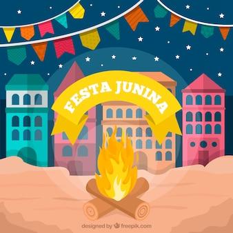 Fundo de festa junina com fogueira