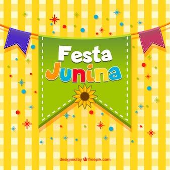 Fundo de festa junina com galhardetes coloridos
