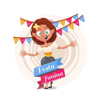 Fundo de festa junina com garota