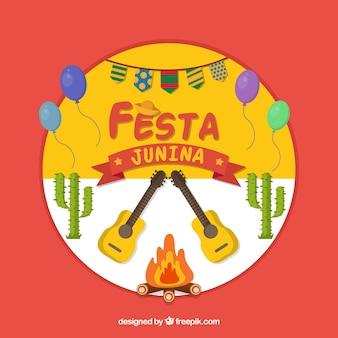 Fundo de festa junina com guitarras e fogueira