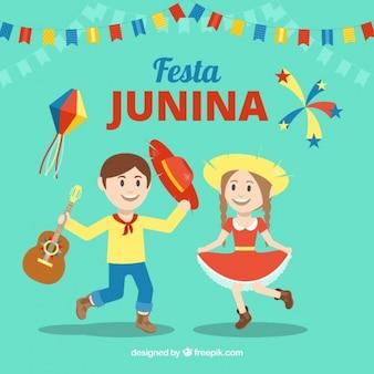 Fundo de festa junina com pessoas dançando