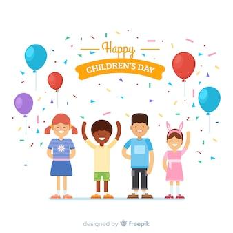 Fundo de festa plana de dia das crianças
