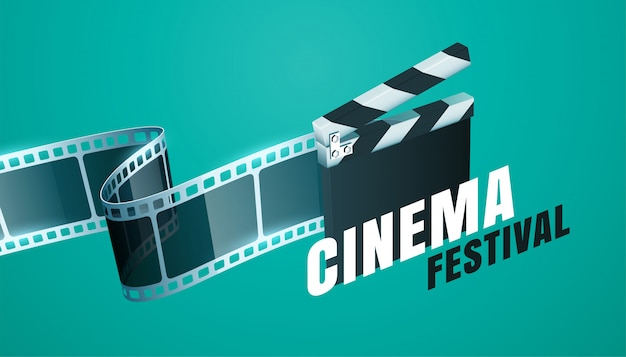 Fundo de festival de cinema cinema com design de placa de badalo aberto