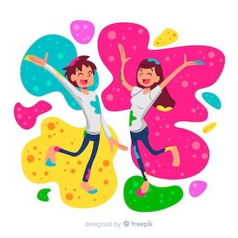 Fundo de festival de holi casal dos desenhos animados