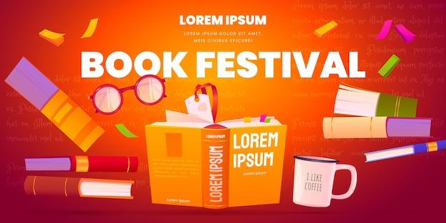 Fundo de festival de livro de desenho animado