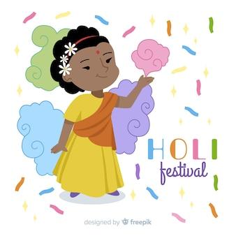 Fundo de festival de mão desenhada holi