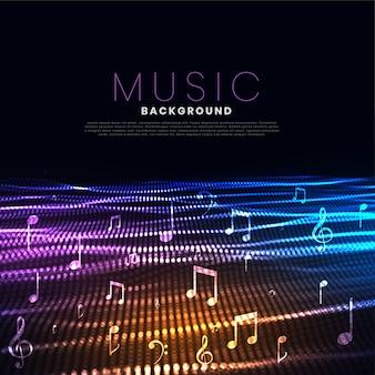 Fundo de festival de música com efeito de onda de partículas