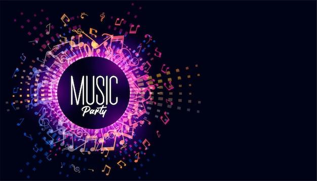 Fundo de festival de música com notas sonoras