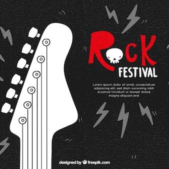 Fundo de festival de rock com guitarra