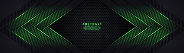 Fundo de fibra de carbono abstrato hexágono escuro com linhas luminosas verdes