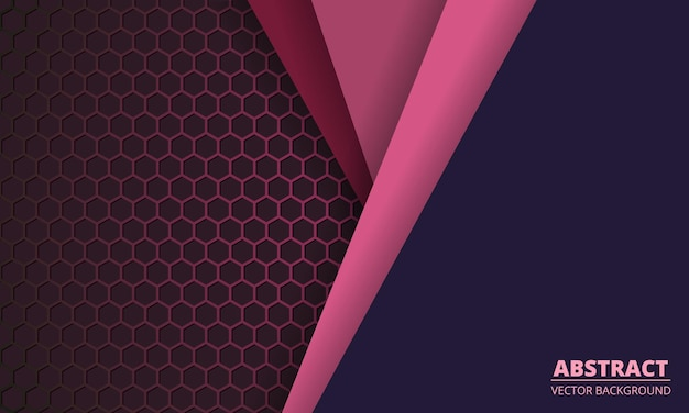 Fundo de fibra de carbono do hexágono rosa escuro com linhas de papel colorido.