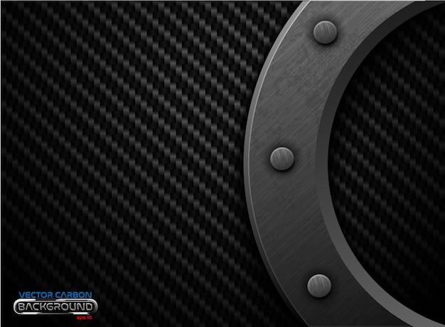Fundo de fibra de carbono preto de vetor com anel de metal escuro grunge e rebite. ilustração de design industrial pesado de superfície rebitada riscada.