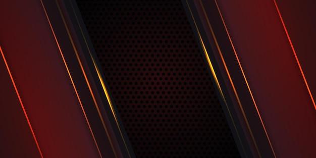 Fundo de fibra de carbono vermelho escuro com linhas luminosas laranja e destaques