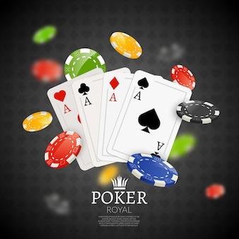 Fundo de fichas e cartões de pôquer