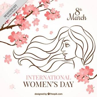 Fundo de filiais com flores e esboço do dia da mulher