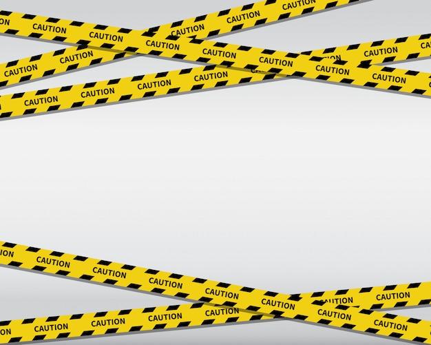 Fundo de fitas de precaução. linha preta e amarela listrada.