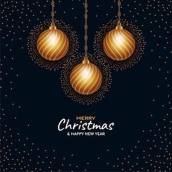 Fundo de flocos de neve de natal com bolas douradas penduradas