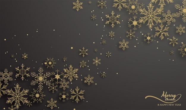 Fundo de flocos de neve de ouro