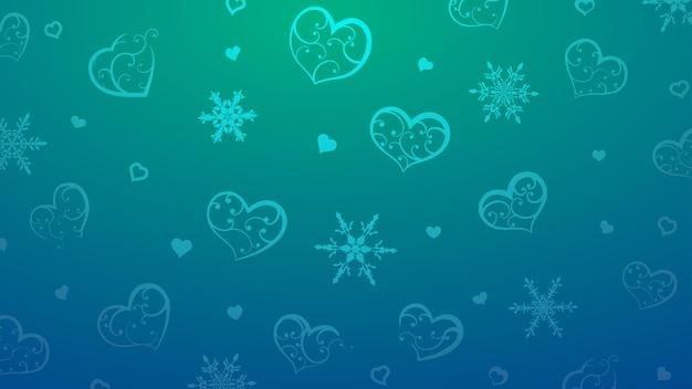 Fundo de flocos de neve e corações com enfeite de cachos, em cores azuis