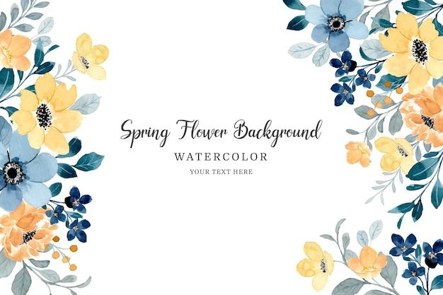 Fundo de flor azul amarelo primavera com aquarela