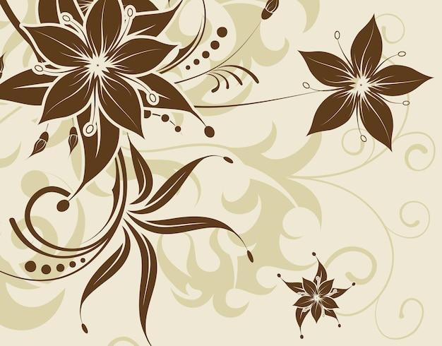 Fundo de flor com borboleta, elemento de design, ilustração vetorial