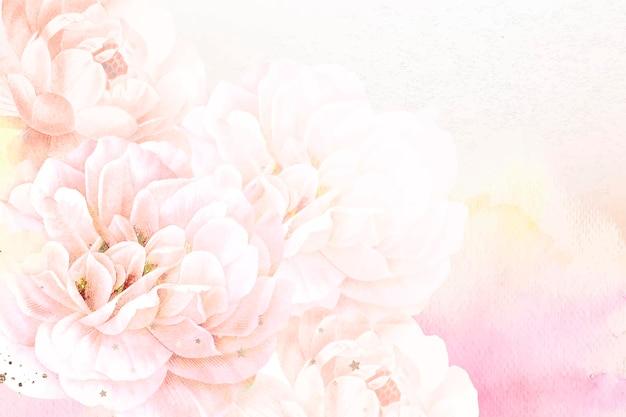 Fundo de flor com vetor de borda estética, remixado de imagens vintage de domínio público