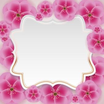 Fundo de flor de ameixa 3d realista com modelo de quadro golen.