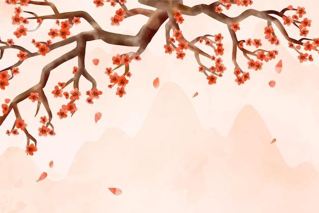 Fundo de flor de ameixa aquarela