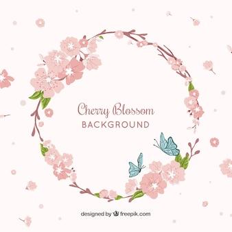 Fundo de flor de cerejeira com flores desenhadas à mão