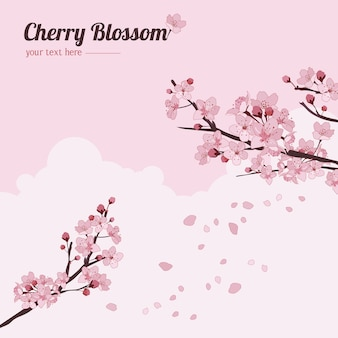 Fundo de flor de cerejeira com ramos