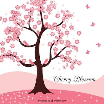 Fundo de flor de cerejeira em design plano