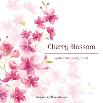 Fundo de flor de cerejeira em estilo aquarela