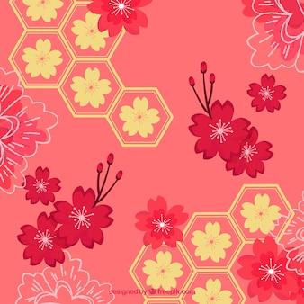 Fundo de flor de cerejeira em estilo plano