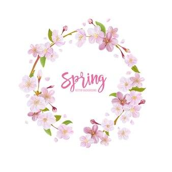 Fundo de flor de cerejeira primavera com guirlanda floral