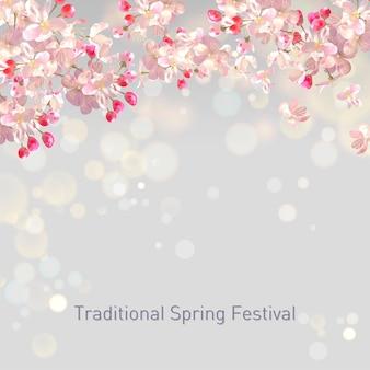 Fundo de flor de primavera com ameixa ou flor de cerejeira