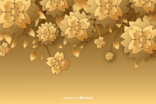 Fundo de flor dourada em estilo 3d