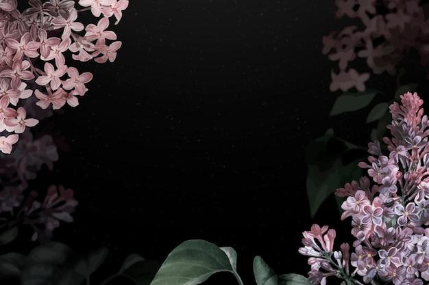 Fundo de flor dramática com borda lilás
