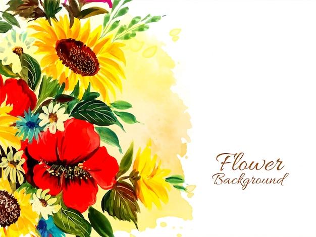 Fundo de flor drwan mão abstrata beautful