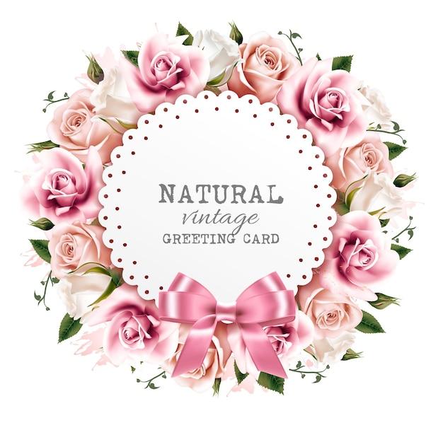 Fundo de flor feito de flores rosa e brancas com uma fita. vetor.