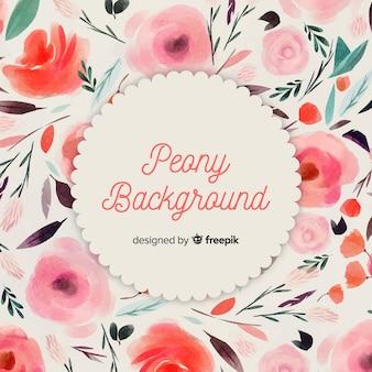 Fundo de flor linda peônia aquarela