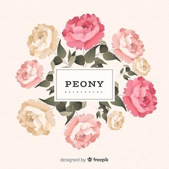 Fundo de flor peônia linda em estilo vintage