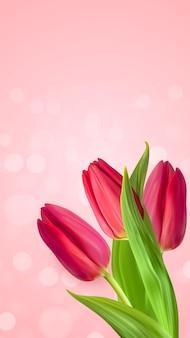 Fundo de flor realista tulipas cor de rosa natural. Vetor Premium