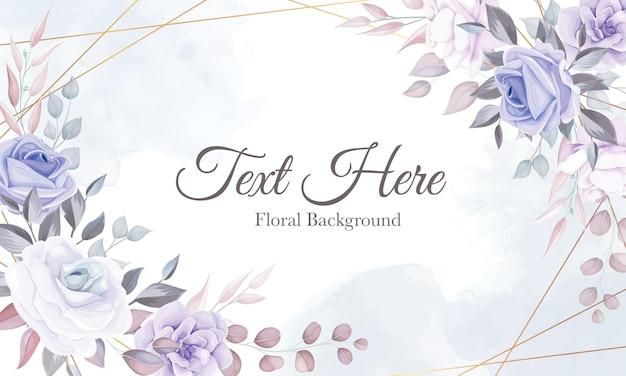 Fundo de flor romântico com decoração de flor roxa