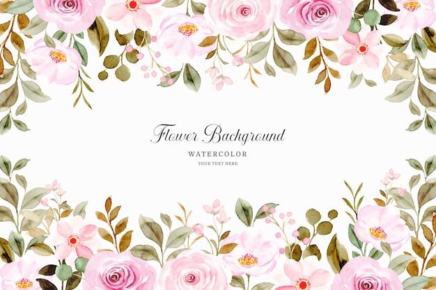 Fundo de flor rosa aquarela