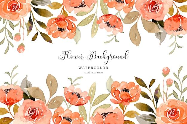 Fundo de flor rosa laranja aquarela